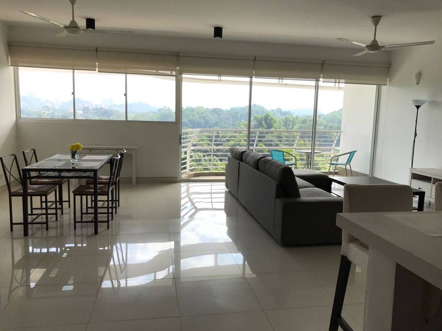 Spacious Dining, Living spaces with views & balcony