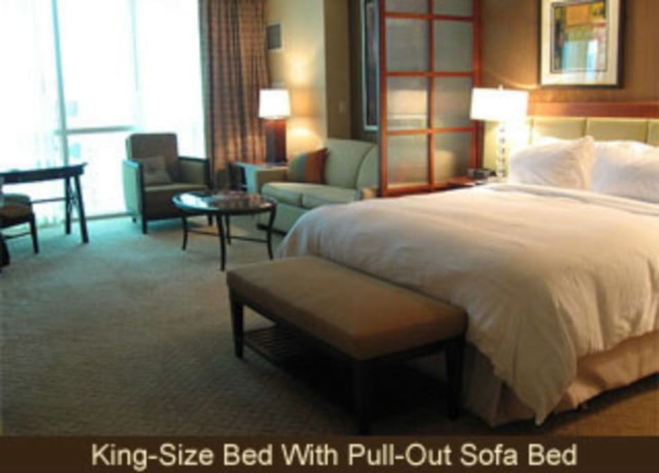King bed and queen sleeper sofa