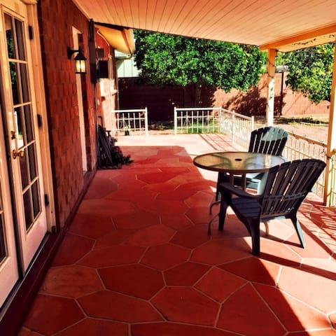 seating area in backyard