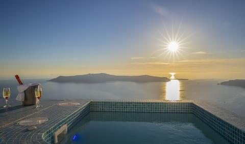 Superior caldera sea & sunset view
