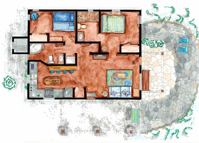 Detailed floor plan of our 840 sq ft of living. Everything has it's place, no clutter, comfy space.
