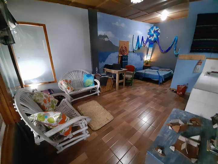 bright cheerful studio apartment