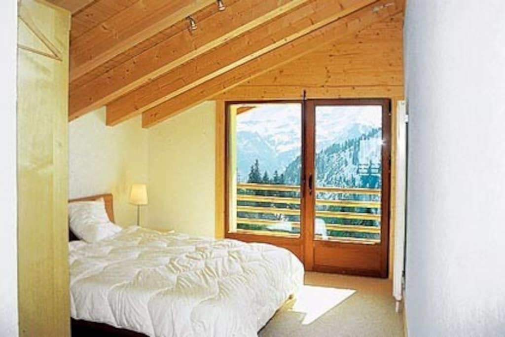 Master bedroom has ensuite and views of the dent du midi
