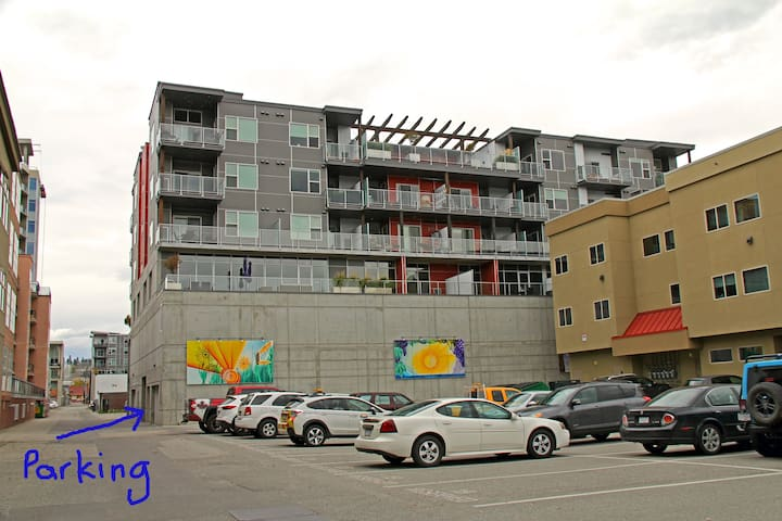 Parking garage accessible from the back alley between St Paul and Ellis Street, entrance from either Cawston or Doyle.