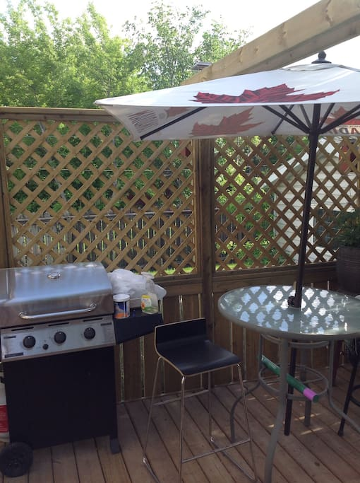 Bbq and eating area are for guests use.  Propane at no extra cost.