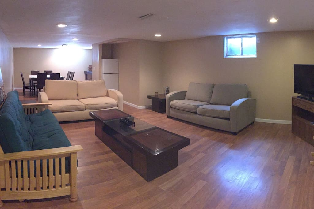 Lower level rec room with 2 sofa sleepers and a futon