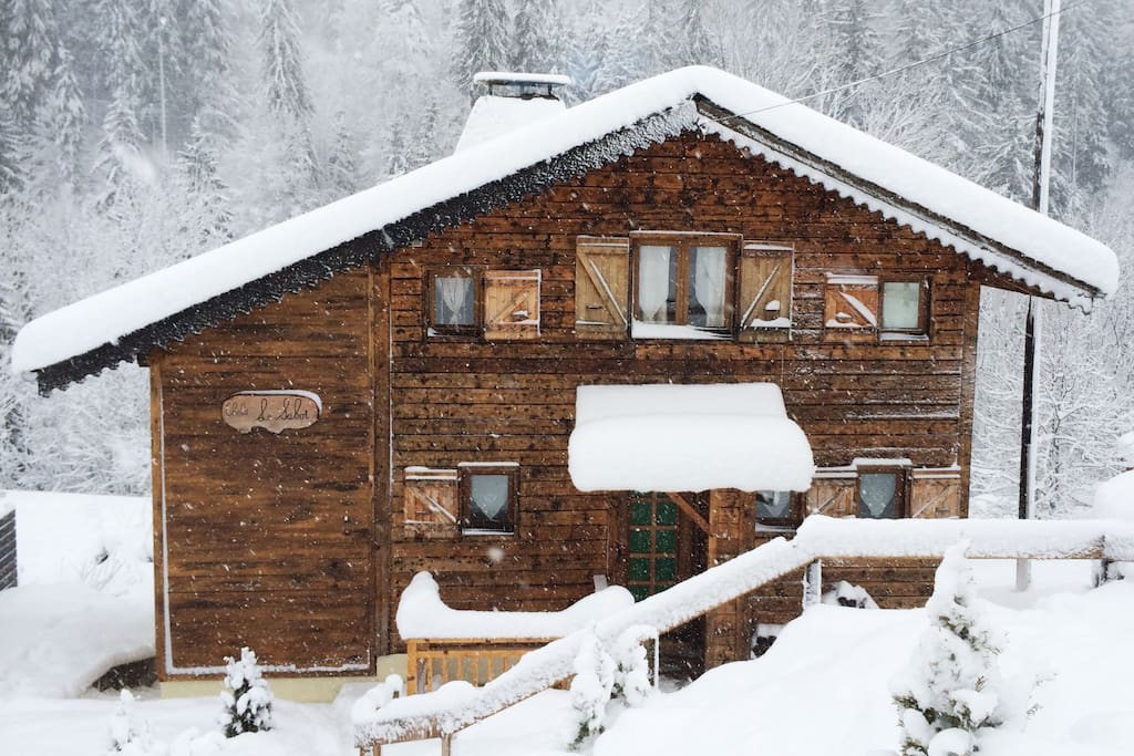 Chalet seen from the road side in Winter