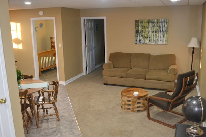 Another family room in the basement contains a sleeper sofa and additional dining table.  There is a large bookshelf at the bottom of the stairs with books, board games, and toys for the kids to enjoy.