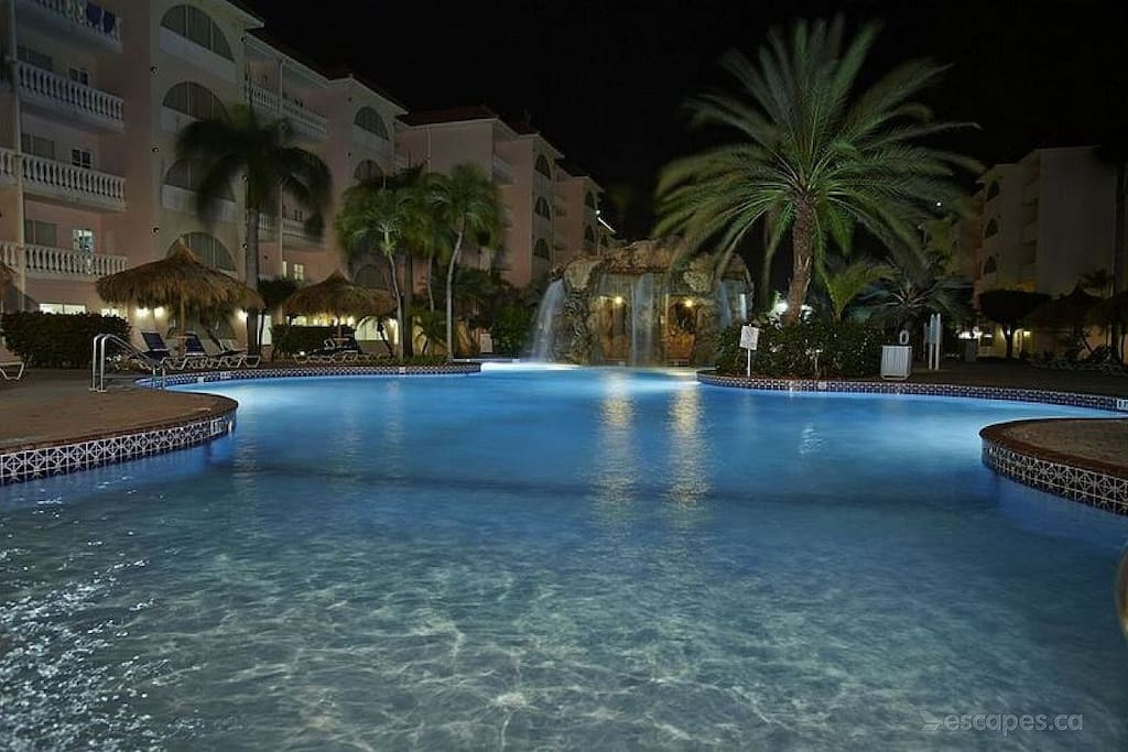 Aruba offers perfect temps for dips after dark.