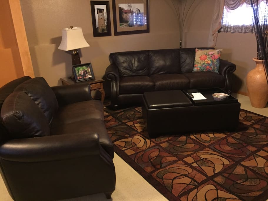 Leather sofa and loveseat in private living room