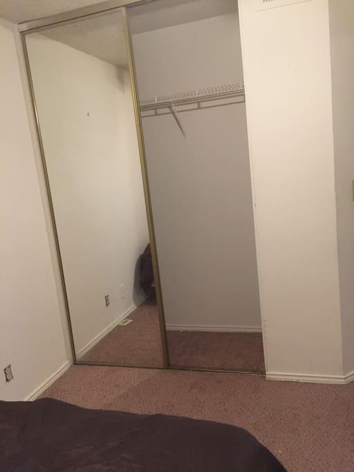 Closet with full mirror
