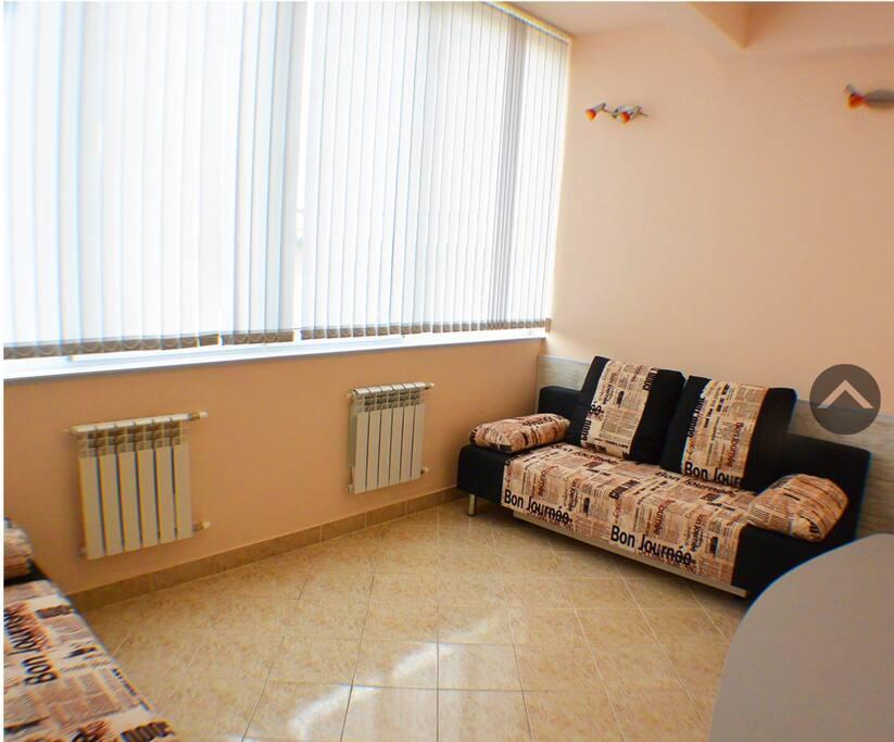Комната. 2 двухспальных дивана 160 на 200, есть кондиционер