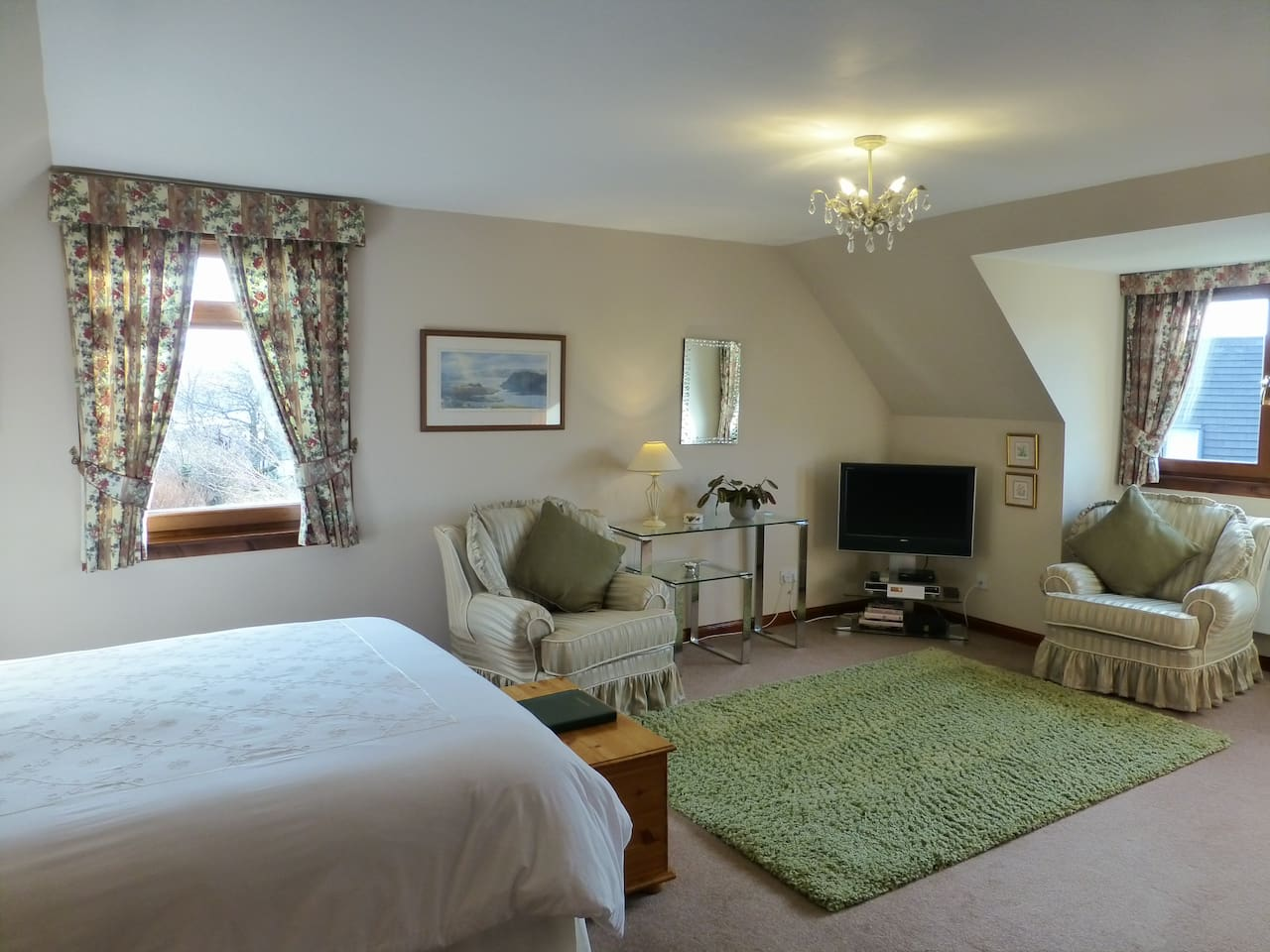 """This is our """"Drimnin"""" room as king sized double room with views over Tobermory and the Morvern hills."""