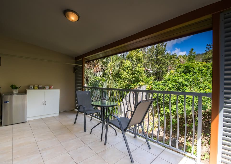 Private balcony with your own fridge, kettle and toaster