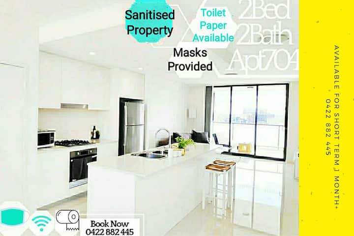 🔴Stylish Sanitised 2Bed2Bath Apt☑️Masks☑️TolietPa