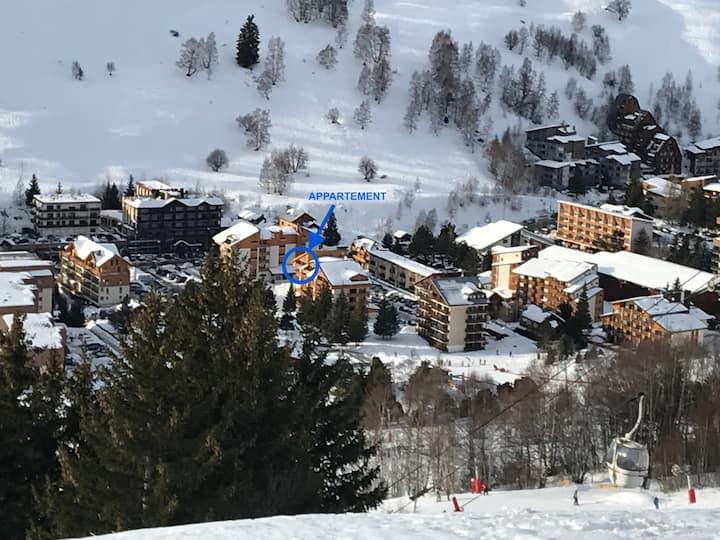 3 pces 54m2, coeur station, calme, skis aux pieds