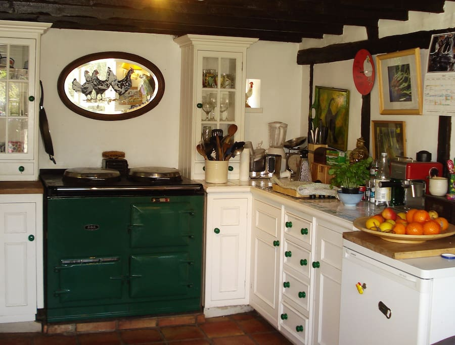 The Aga is still on in kitchen until May, cosy!