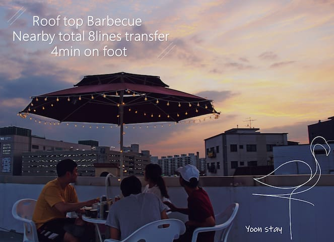 ★C★ roof top BBQ women dorm 4min transfer station