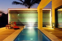 Light installation of the pool & waterfall wall