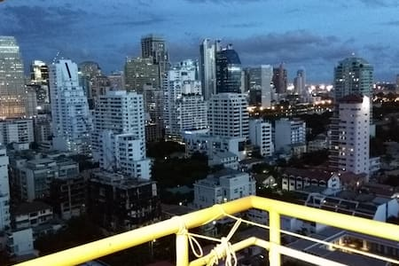 Awesome top-floor studio condo in downtown Bangkok.  It is located in Bangkok's main business/shopping/nightlife zone, 5 minutes walk to the BTS (metro) train, and has a great swimming pool.