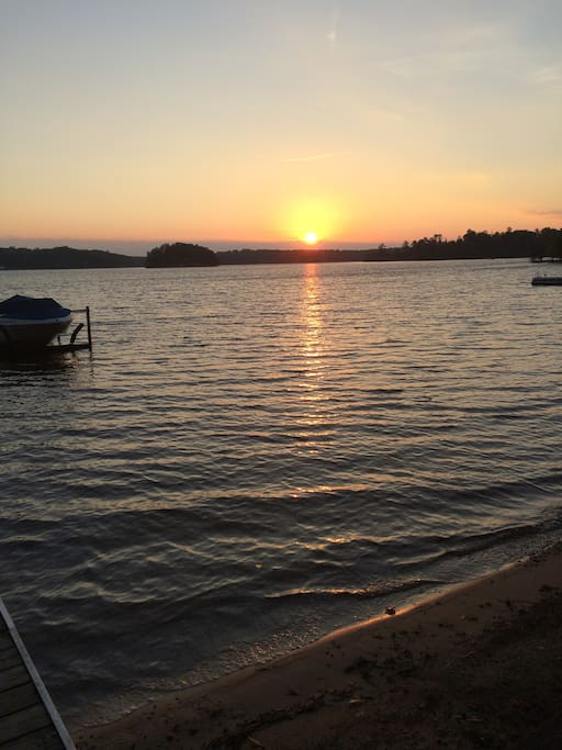 Sunsrise over Long Lake from the cottage beach