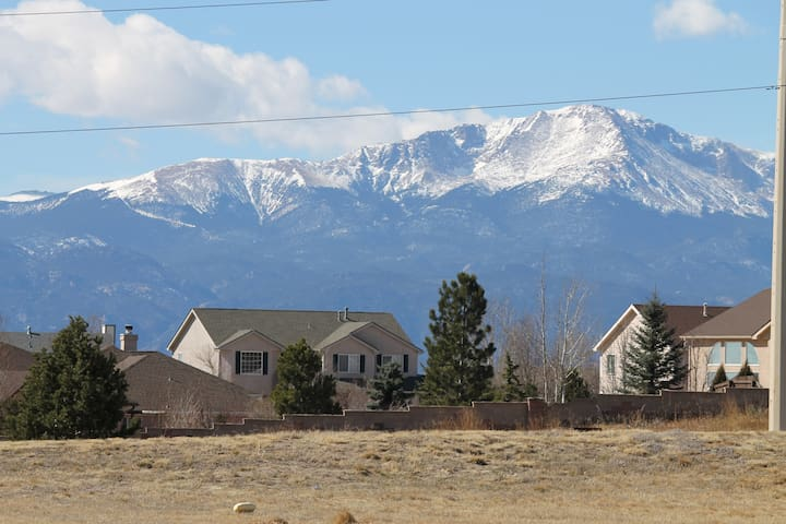 View of Pikes Peak from the front of our house.