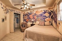 The exquisite wall paintings enhance this beautiful room!