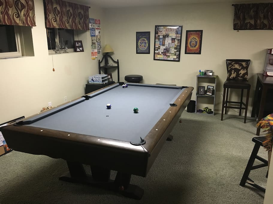 Pool table.   This is next to Bedroom #1 in the basement.  Feel free to use.