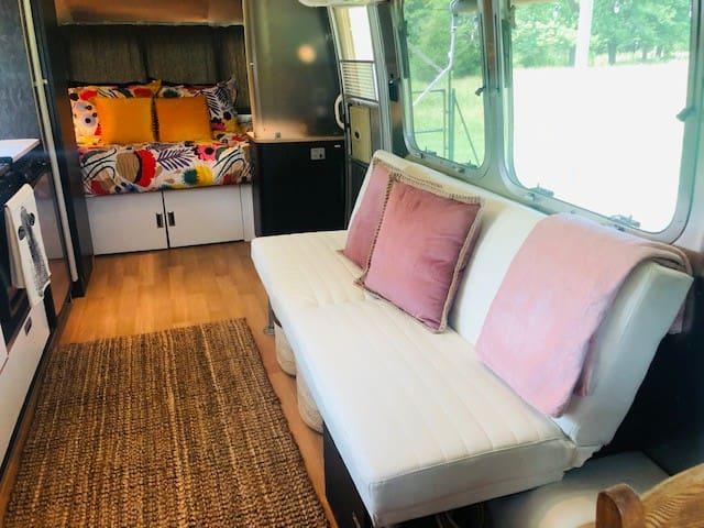 That white pleather couch - AirStream groovy!!