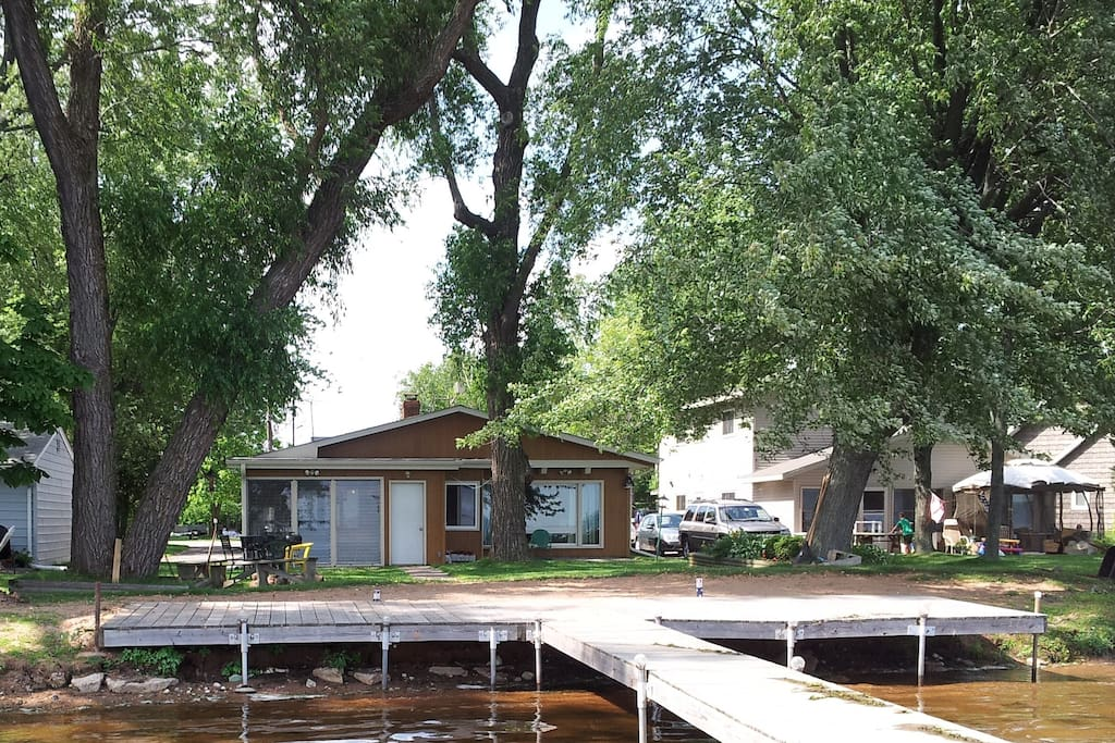 """Lake shore with """"deck dock"""""""