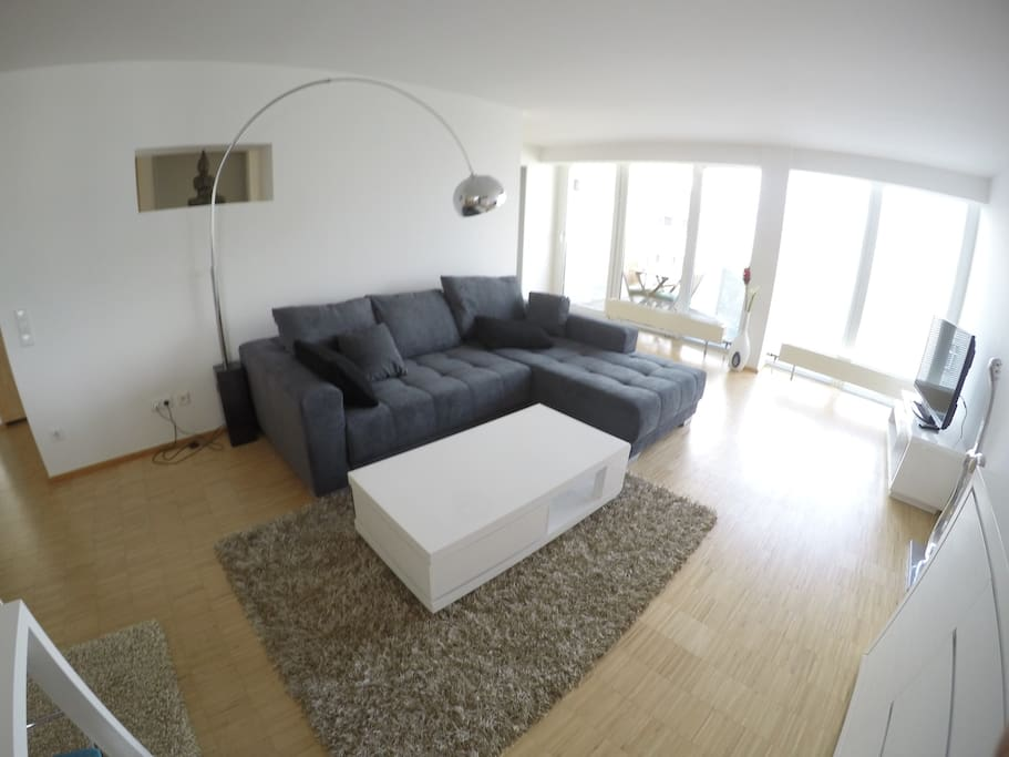 Living room with brand new sofa