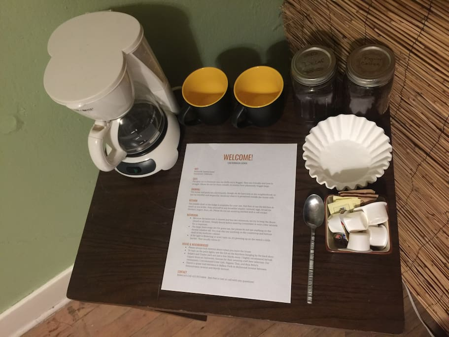 Coffee station & welcome sheet in private bedroom