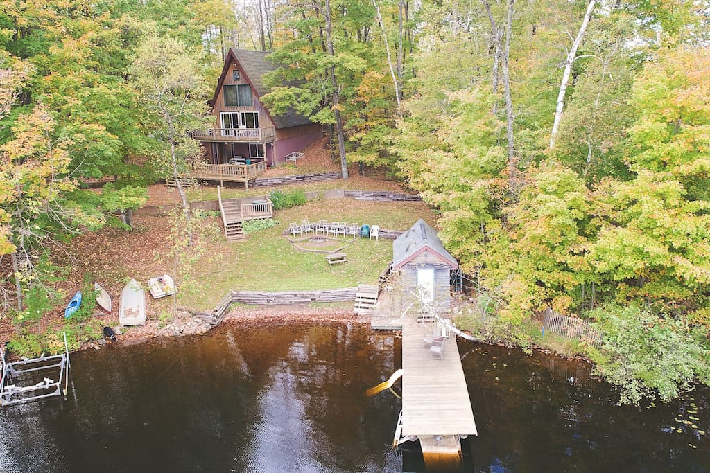 The cabin: Drone photo credit - Travis Pohls