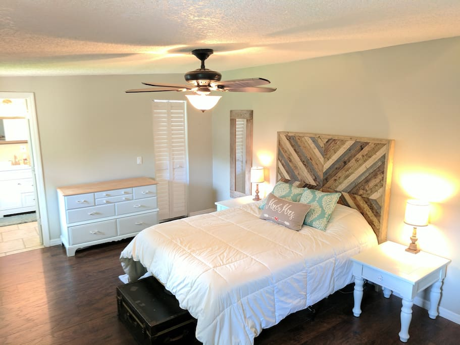 Large master bedroom with coastal feel