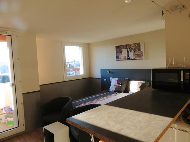 Studio in Toulouse, with wonderful city view, furnished balcony and WiFi