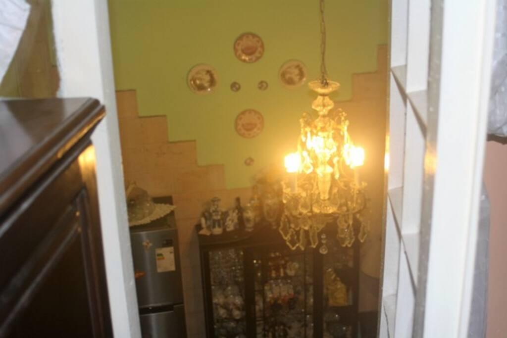 Vista desde la habitación al salón interior