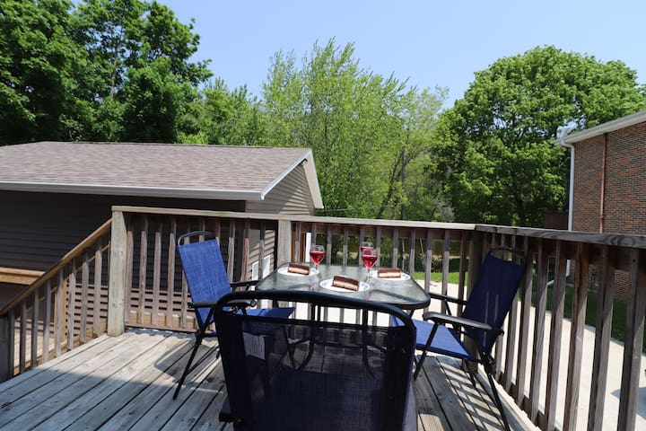 Enjoy your lunch or dinner out on the back deck overlooking the Sheboygan River.