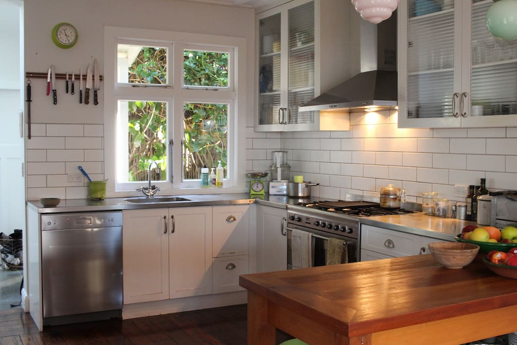 Dishwasher, massive oven and plenty of workspace in the kitchen.