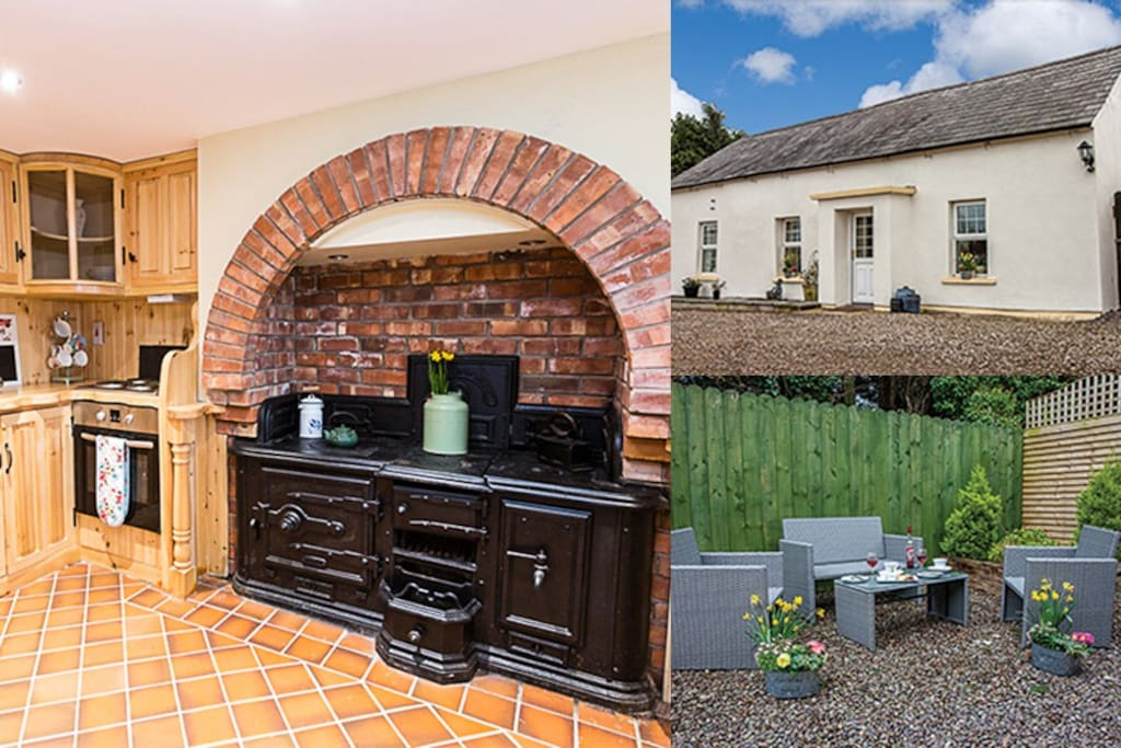 Peak views of kitchen, front of cottage and secluded garden