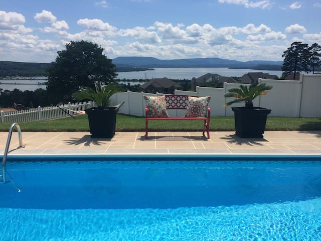 South View of Lake Dardanelle and Mount Nebo from patio.