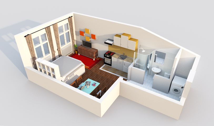 for your imagination a 3D plan of the apartment ;)
