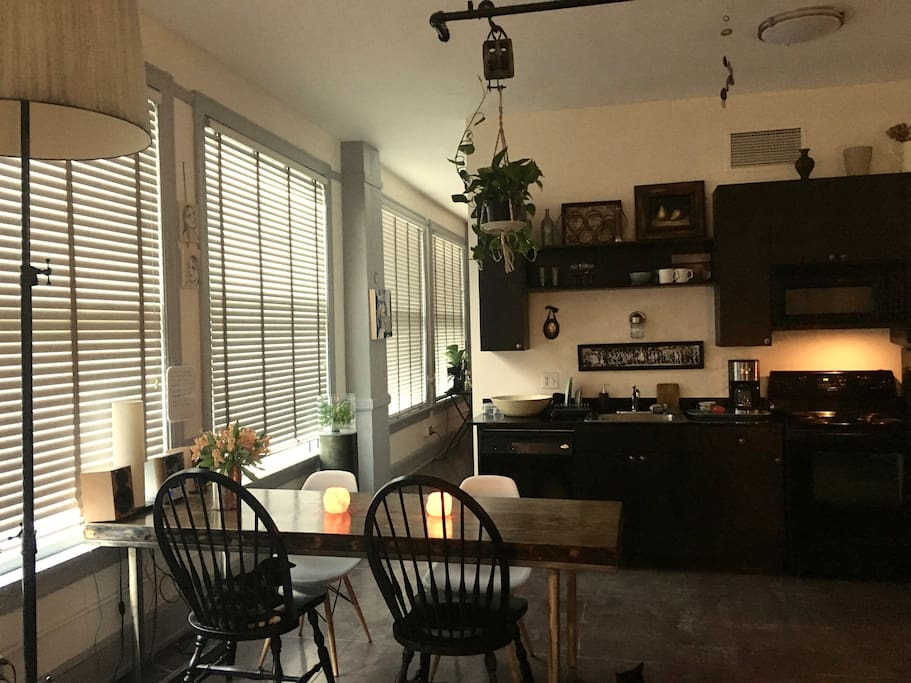 Dine-in kitchen with all cooking needs furnished.
