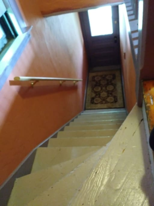 This is the flight of steps to the Dragon Point apartment.