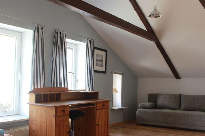 Schlafzimmer 2 mit Schlafcouch und Schreibtisch