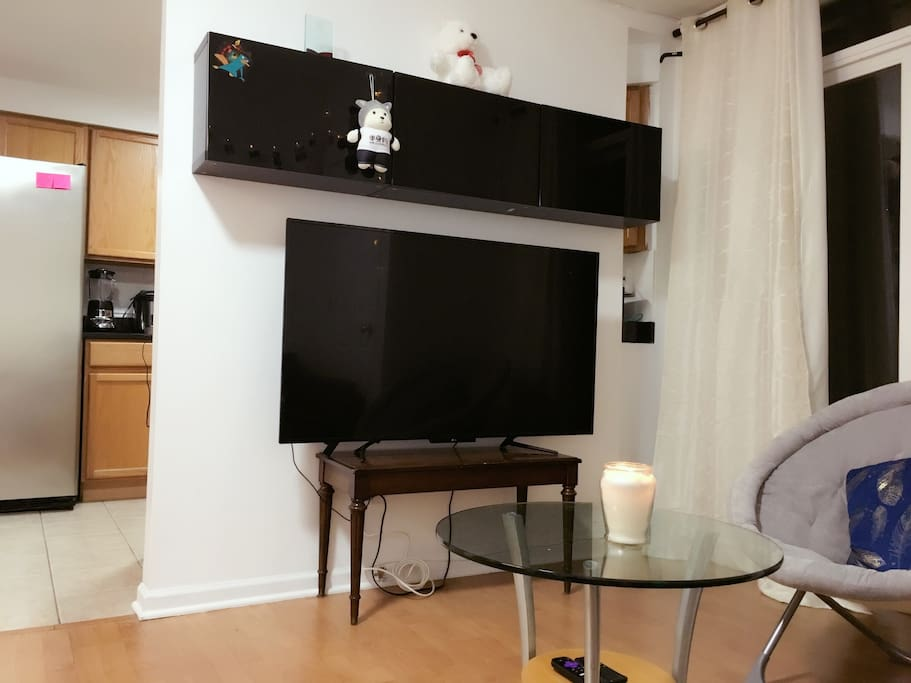 """55"""" HDTV in the living room with UNLIMITED Movies/ TV shows"""