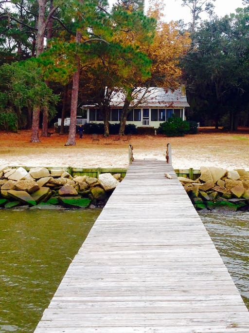The view of the house from the dock.