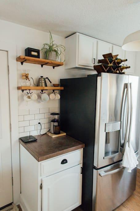 Kitchen, feat. our beloved coffee bar