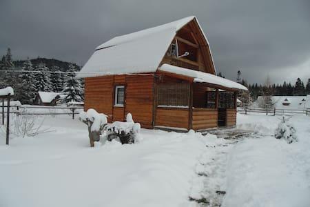 Деревянный двухэтажный дом . - Vorokhta