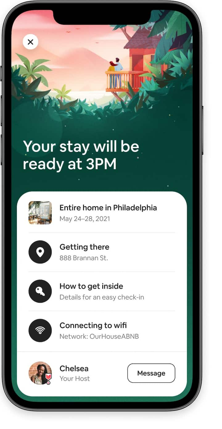 Guest information including access to check in details and your host in the Airbnb app.