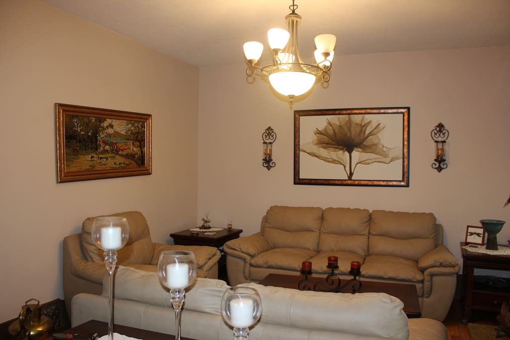 Open family room and dining room with plenty of seating. Enjoy the fireplace as well.